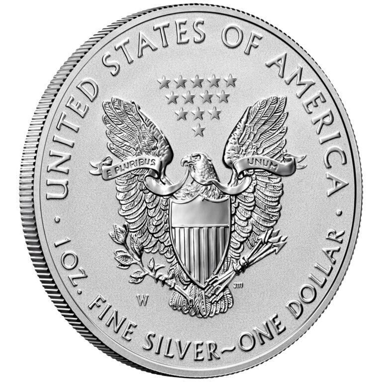 2021 American Eagle Silver One Ounce Reverse Proof Coin Reverse Angle Old Design
