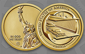 American Innovation $1 Coin Virginia obverse and reverse