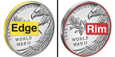 coin with edge in yellow and rim in red