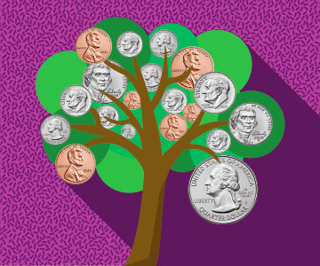 tree with coins hanging from branches