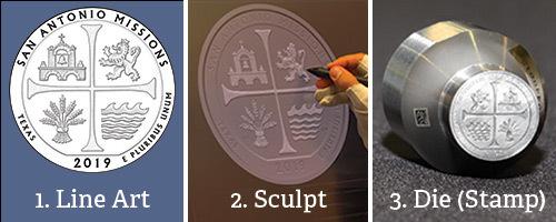 1. line art; 2. sculpt; 3. die (stamp)