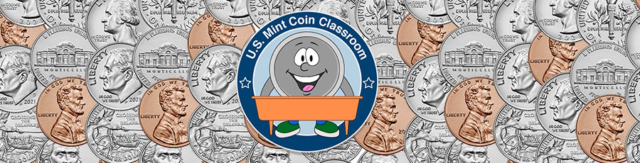 coin collage and u.s. mint coin classroom logo