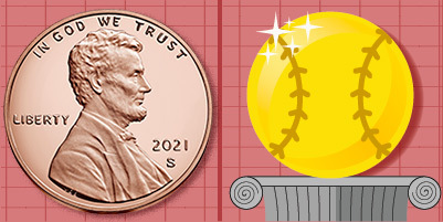 proof penny and a cartoon gold baseball on a pedestal