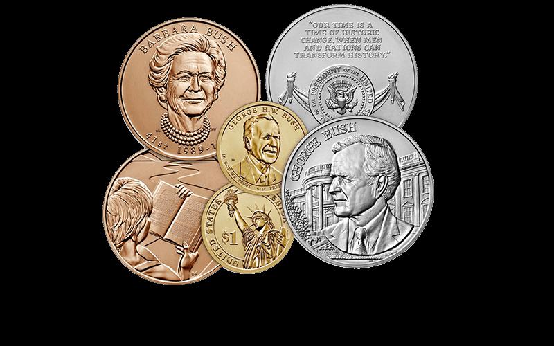 Barbara Bush First Spouse Gold Coin, George H.W. Bush Presidential $1 Coin, George Bush Presidential Medal