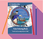 coin coloring book with colored pencils