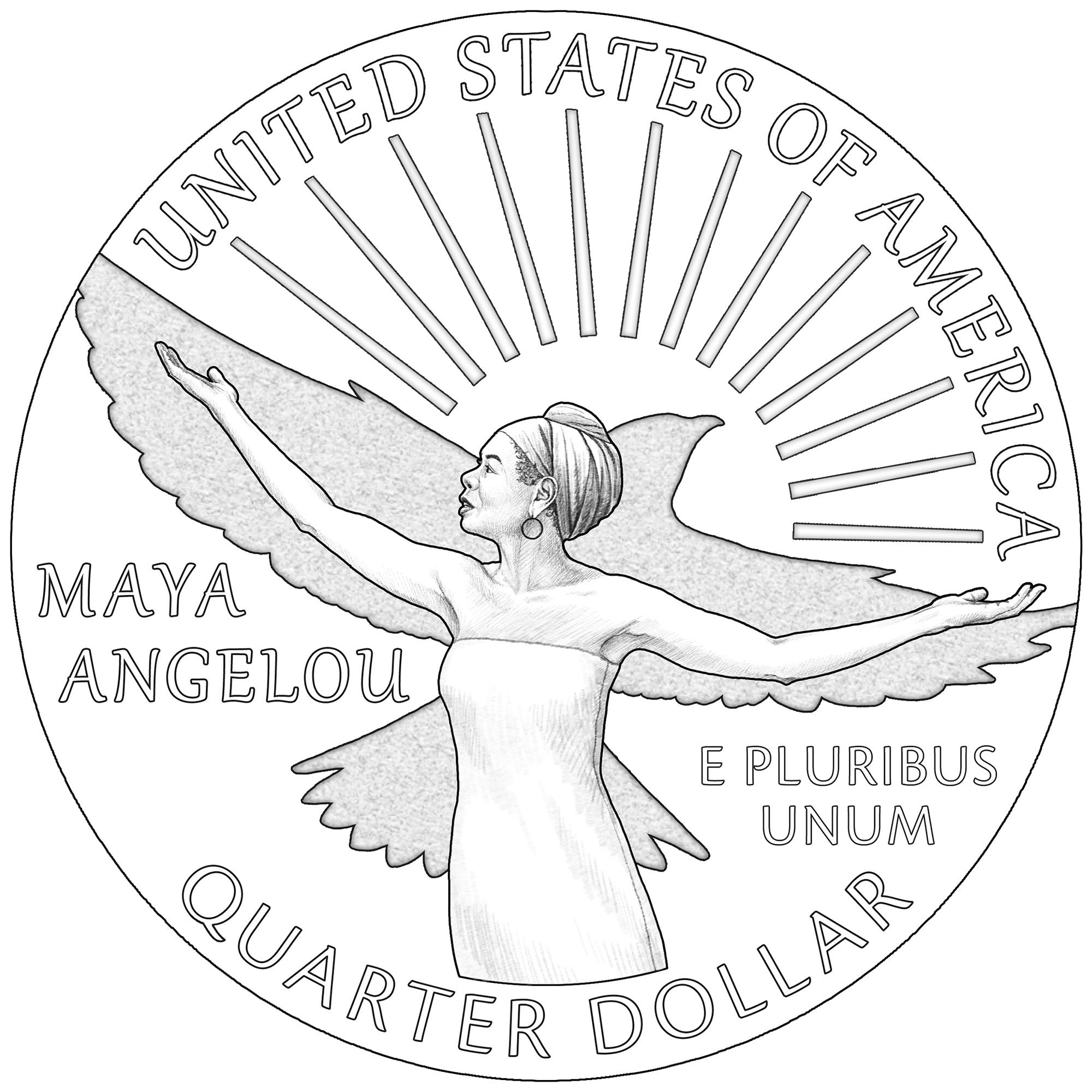 2022 American Women Quarters Coin Maya Angelou Line Art Reverse