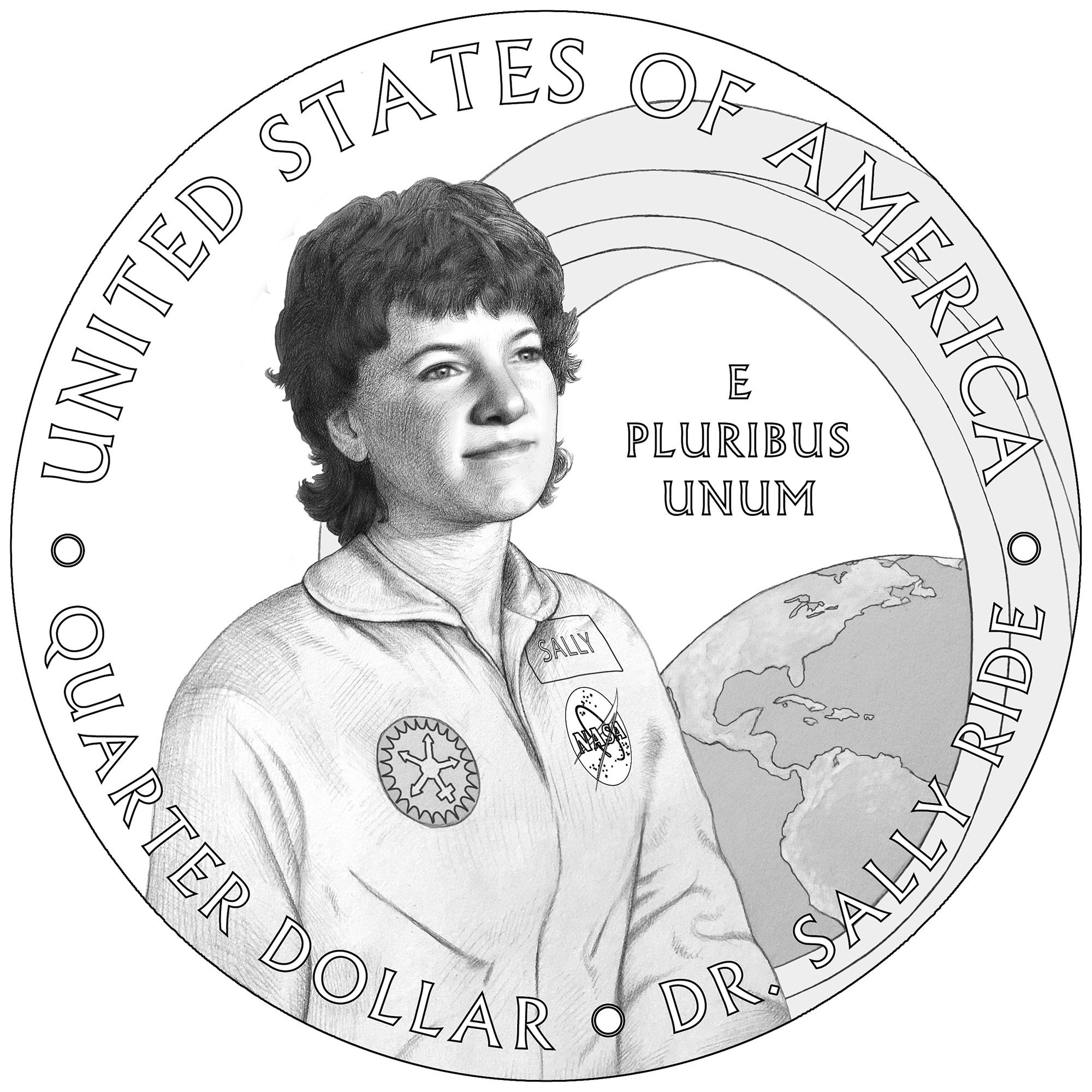 2022 American Women Quarters Coin Sally Ride Line Art Reverse
