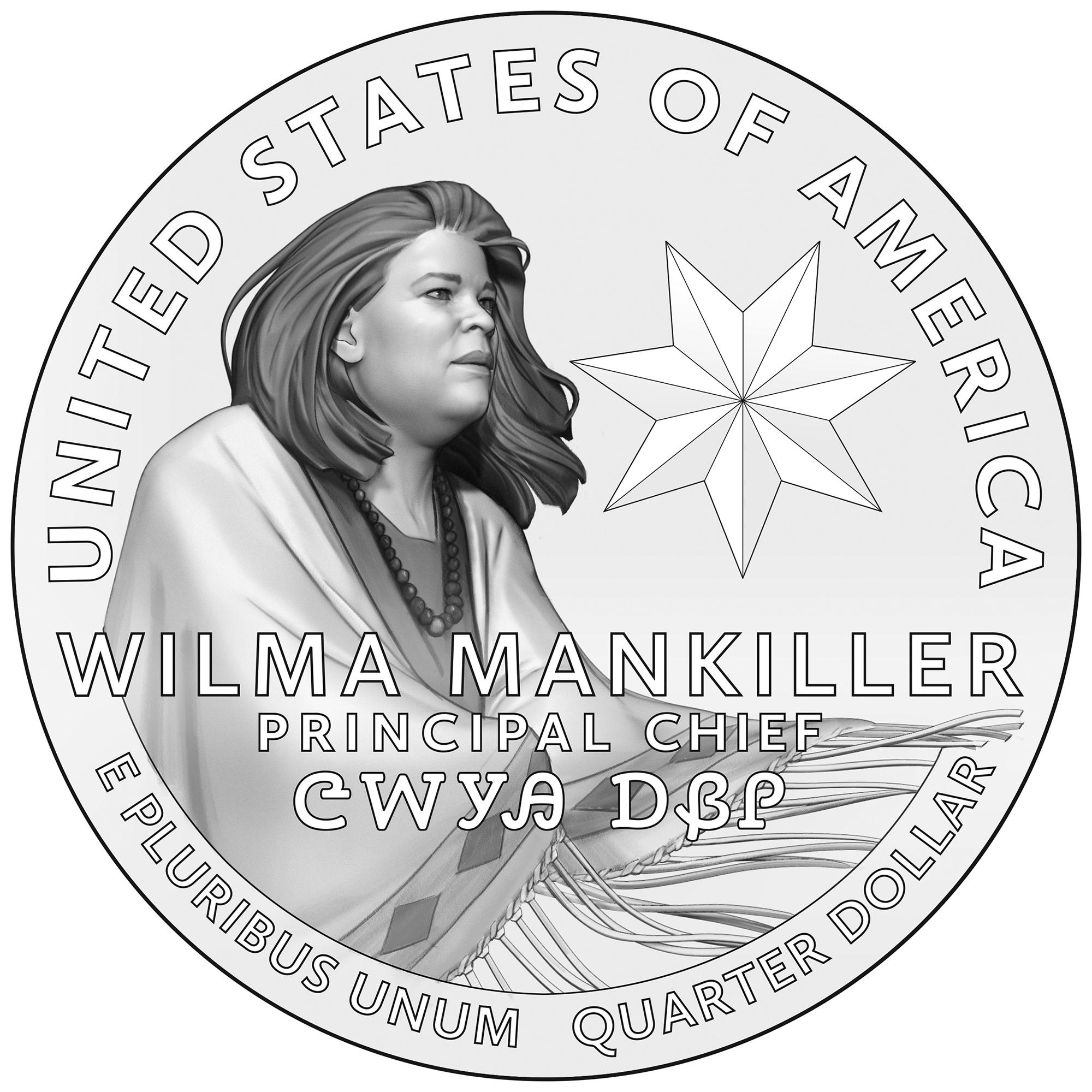 2022 American Women Quarters Coin Wilma Mankiller Line Art Reverse