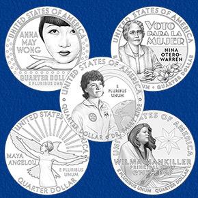 line art for the 2022 American Women Quarters Program coin designs