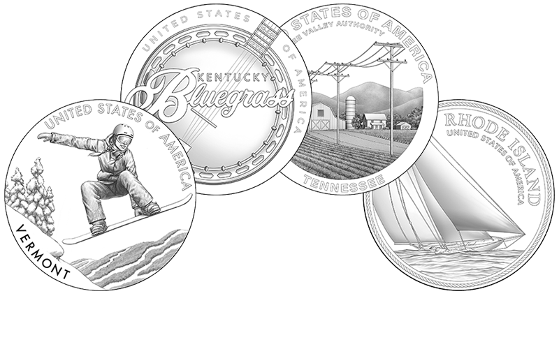 line art for the 2022 American Innovation $1 Coins