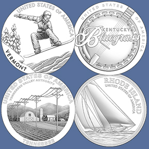 line art images of the 2022 American Innovation $1 Coins
