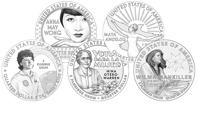 line art of the 2022 American Women Quarters Program coin designs