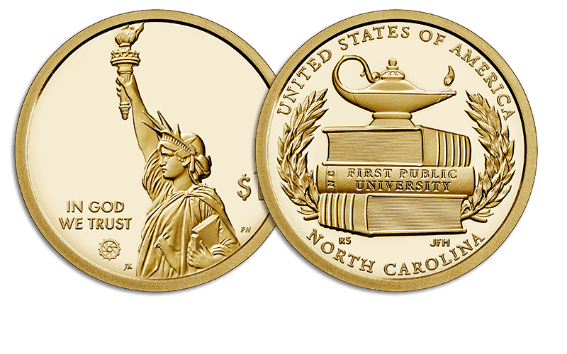 American Innovation $1 Coin - North Carolina obverse and reverse